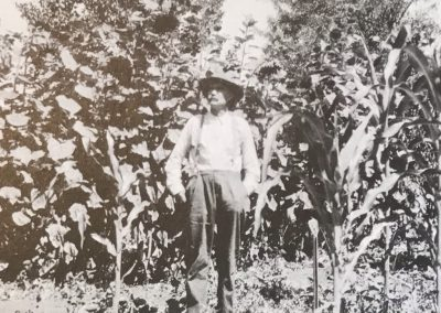 James M. Krenkel at garden above Alder Creek in Los Burros Mining District c. 1930