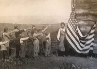 Flag Salute Pacific Valley School 1922 with Mansfield and Plaskett kids