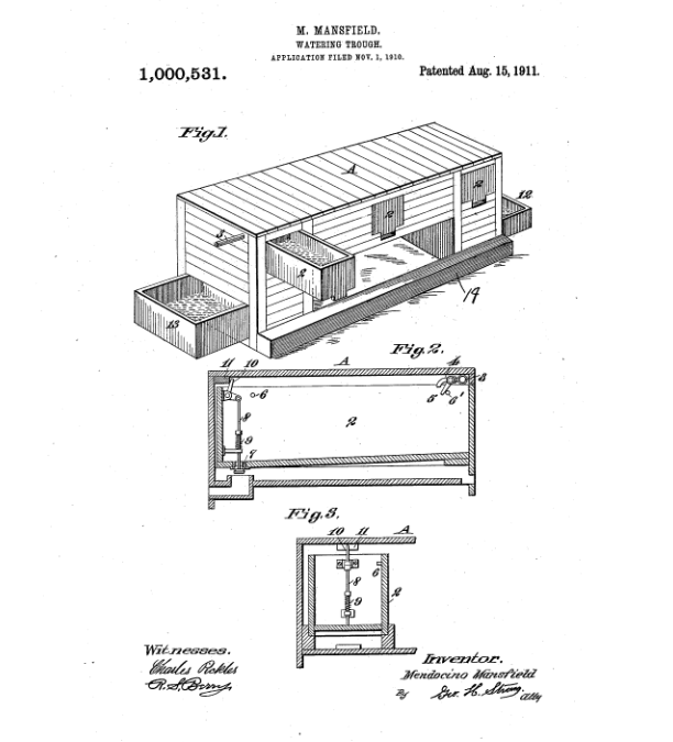 Mendocino May Plaskett Mansfield Water Trough Patent